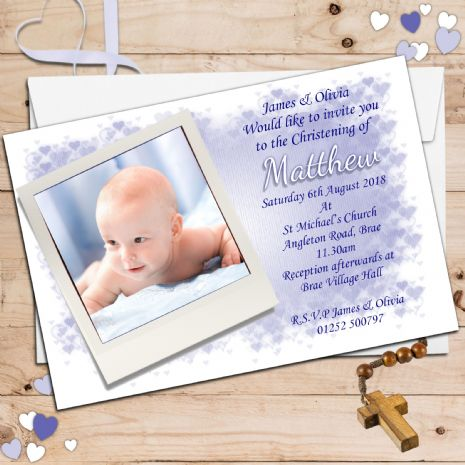 10 Personalised Christening Baptism Photo Invitations N30